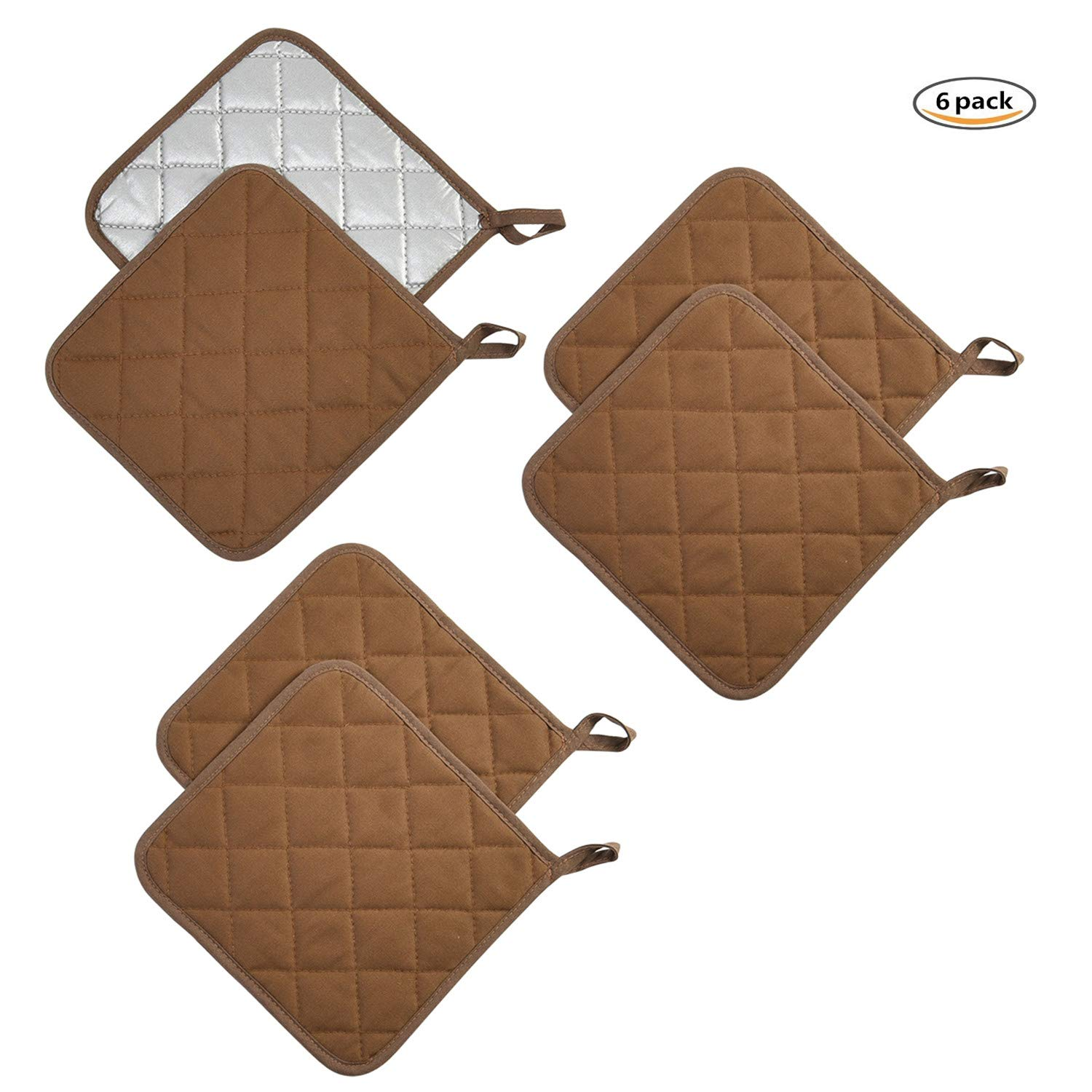Jennice House Potholders Set Trivets Kitchen Heat Resistant Pure Cotton Coasters Hot Pads Pot Holders Set of 6 for Everyday Cooking And Baking by 7 x 7 Inch (Brown)