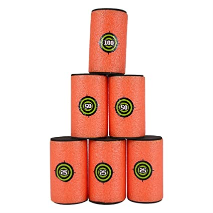 fabric covered foam with golf tees to hold ping pong balls for nerf gun  target practice