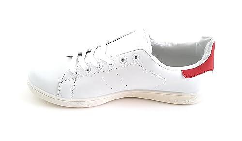 BRANDELIA Zapatillas Blancas de Hombre Sneakers Estilo Casual y Deportivo, Color Blanco Detalle Rojo T.42: Amazon.es: Zapatos y complementos