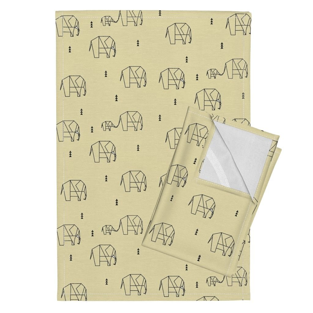 Roostery Elephants Ele Family Pale Yellow Baby Yellow Geometric Elephants Sunny Afternoon Geometric Animals Tea Towels Elephants - Pale Yellow by Sunny Afternoon Set of 2 Linen Cotton Tea Towels