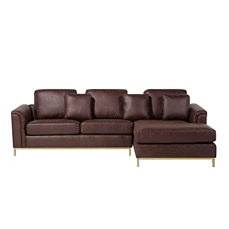 Awe Inspiring Beliani Corner Sofa L Shaped Left Right Hand Modern Leather Living Room Oslo Gmtry Best Dining Table And Chair Ideas Images Gmtryco