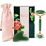Jade Roller and Gua Sha Set - Real 100% Jade Roller for Face & Gua Sha Facial Tool - Face Roller - Face Massager for Wrinkles, Anti Aging Facial Roller Massager - Lymphatic Drainage Puffy Eye Massager