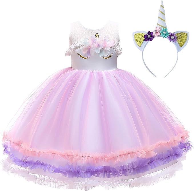 New front Vestido de Princesa Niña Unicornio Disfraz de Fiesta ...
