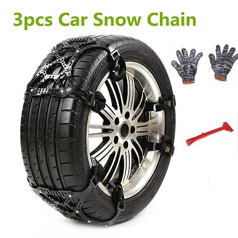 Cadena de nieve antideslizante de 3 secciones, cadena de nieve antideslizante universal para ruedas de