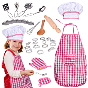 32 PCs Chef Dress Up Clothes Little Girls, Play Kitchen Accessories Set Kids, Cooking Baking Tools, Pretend Play, Birthday Gifts
