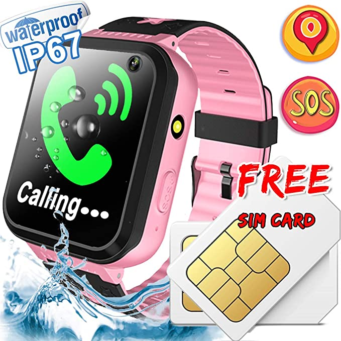Kids Smart Watch [Free SIM Card] IP67 Waterproof Kids Phone Watch with GPS Tracker SOS Safety Call Anti-Lost Camera Learning Game Toy Children ...