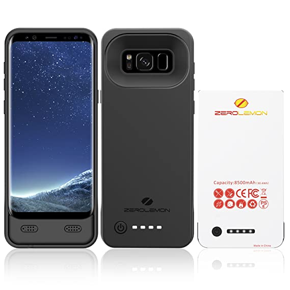 online store 0891c 35cd1 ZEROLEMON Galaxy S8 Battery Case, Ultra Power 8500mAh Extended Battery Case  Rechargeable Charging Case with Soft TPU Full Edge Protection Case for ...