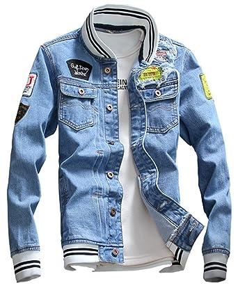 Lifehe 2018 Men Slim Fit Denim Jacket Black Jeans Coat With Patches