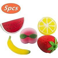 5pcs Jumbo Squishies Slow Rising Strawberry Watermelon Banana Peach Lemon Fruit Squishies Kawaii Scented Charms Hand Wrist Toys