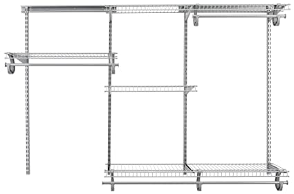 ClosetMaid 78808 ShelfTrack 4ft. To 6ft. Adjustable Closet Organizer Kit,  Satin Chrome