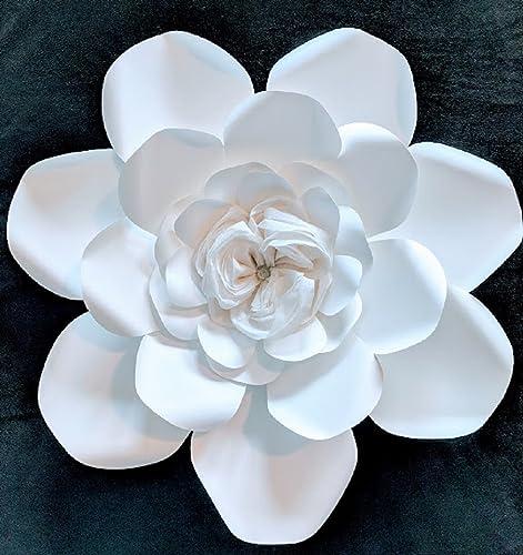 Amazon oval petal white paper flower backdrop 26 diameter oval petal white paper flower backdrop 26quot diameter fully assembled mightylinksfo