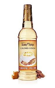 Jordan's Skinny Syrups |Sugar Free Caramel PecanSyrup | Healthy Flavors with 0 Calories, 0 Sugar, 0 Carbs | 750ml/25.4oz Bottle