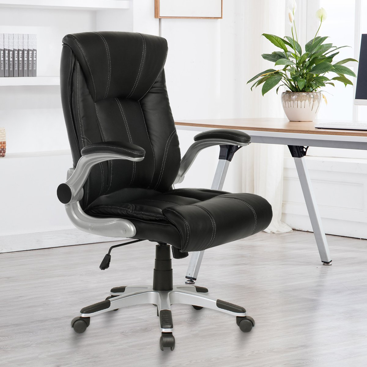 YAMASORO Ergonomic High-Back Executive Office Chair PU Leather Computer Desk Chair with Flip-up Arms and Back Support by YAMASORO (Image #3)