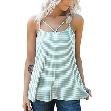 7a41ba2d588c Riojay Striped Spaghetti Strap Cami Tank Top Women Cut Out Sleeveless Tops  Loose Vest at Amazon Women's Clothing store: