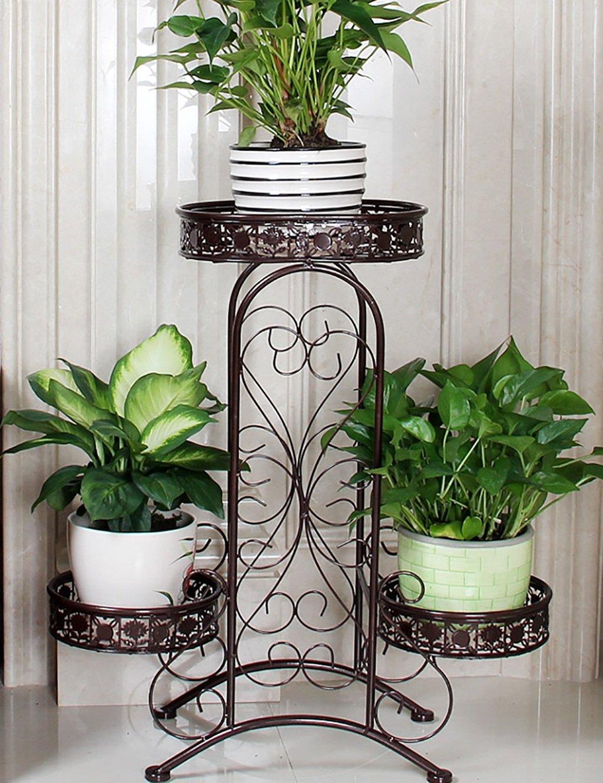 LB huajia ZHANWEI Europäischen Stil Blume Racks Eisen Blume Rack Balkon Wohnzimmer DREI-Layer-Blumentopf Flower Rack (Farbe : 3#)