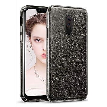 Coovertify Funda Purpurina Brillante Negra Xiaomi Pocophone F1, Carcasa Resistente de Gel Silicona con Brillo Negro para Xiaomi Pocophone F1