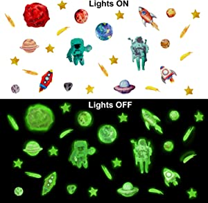 Konsait Glow in The Dark Space Wall Stickers for Kids, Astronaut Spaceship Rocket Planet Outer Space Universe Wall Solar System Decoration Stickers for Children Boys Girls Bedroom Classroom Ceiling