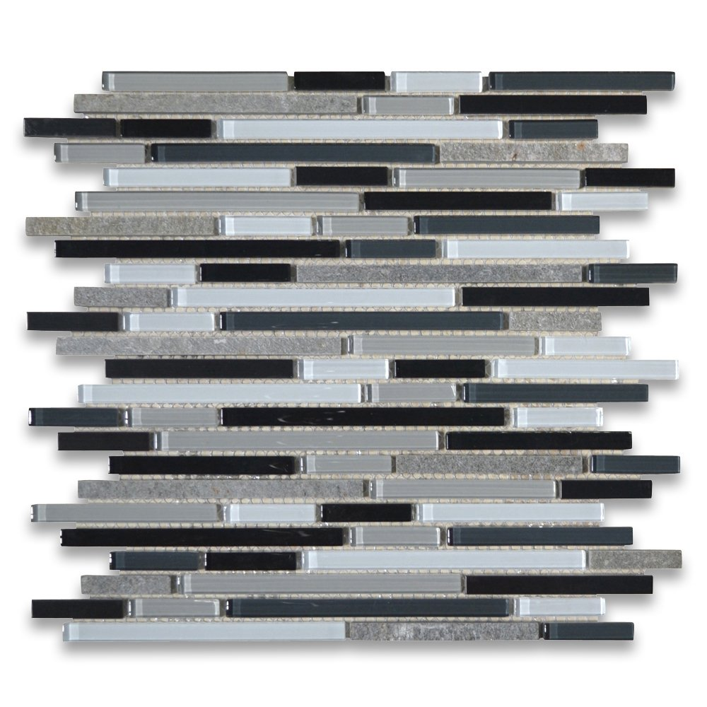 Grey Black White Glass Mix Slate and Stainless Steel Random Linear Brick Mosaic Tile