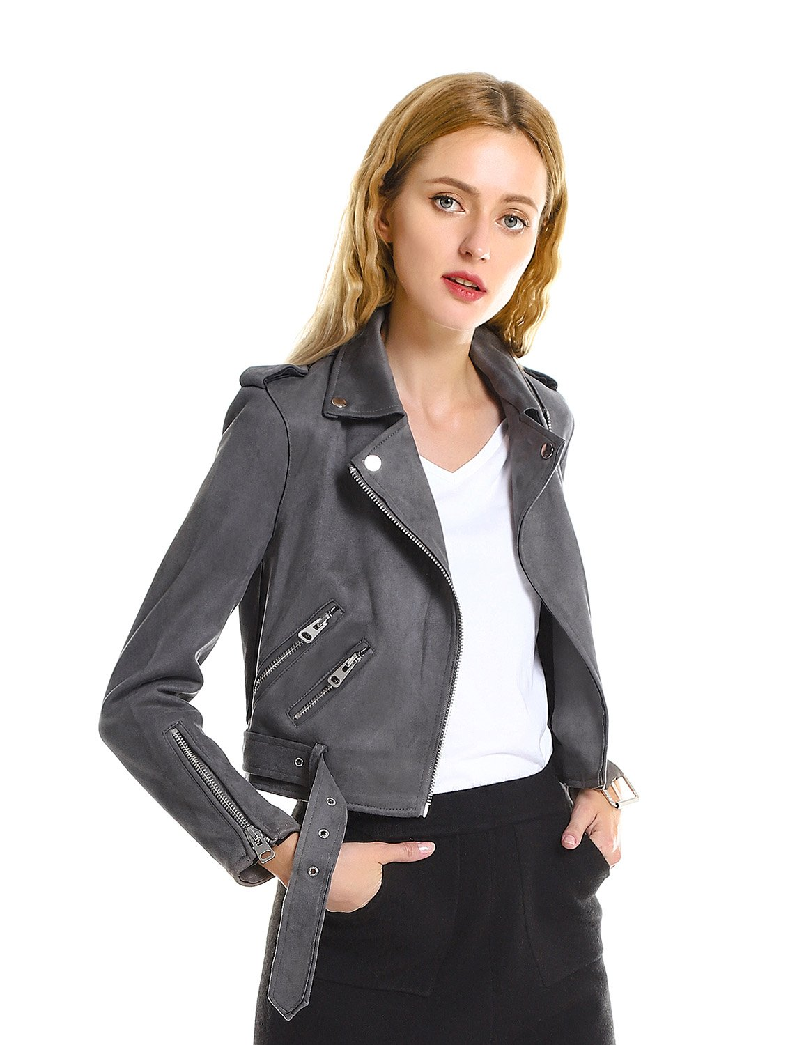 ZAN.STYLE Women Casual Faux Leather Moto Jacket Short Suede Coat with Belt (XL, Grey)