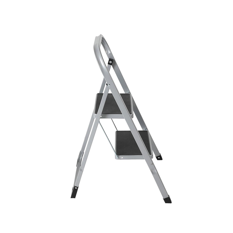 silberfarben // schwarz Klapptreppe bis 150 kg Klapptritt aus Metall mit Halteb/ügel und gummierten Stufen axentia Trittleiter 2 Stufen klappbar