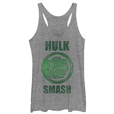 9b9469f2bb0c79 Amazon.com  Marvel Women s Hulk Smash Racerback Tank Top  Clothing