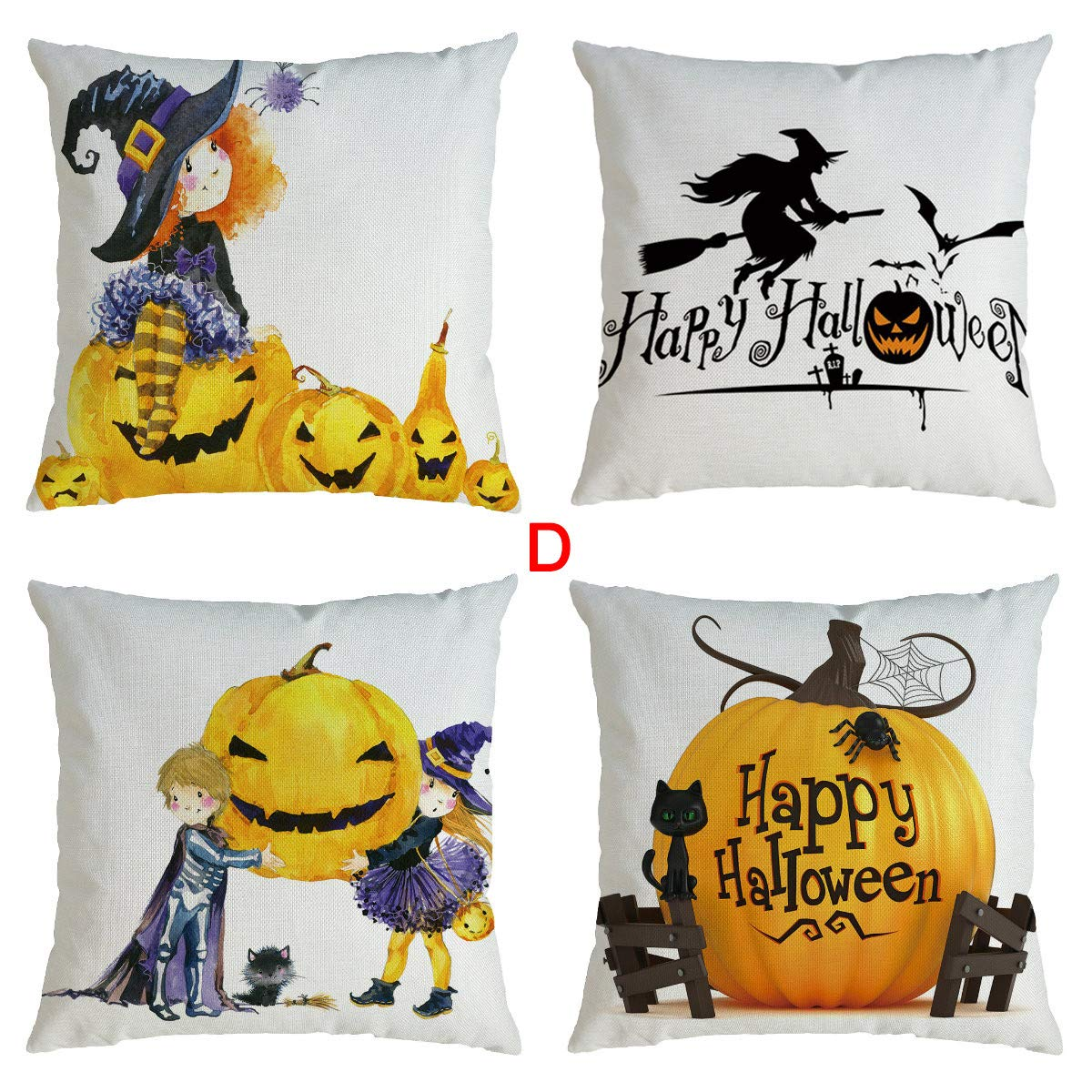 Throw Pillow Covers,Lucoo 4PCS Pumpkin Series Halloween Pillowcase Decorative Square Cushion Cases Sofa Cushion Covers Set for Home Decor18 x 18 Inch 45 x 45 cm by Lucoo Home