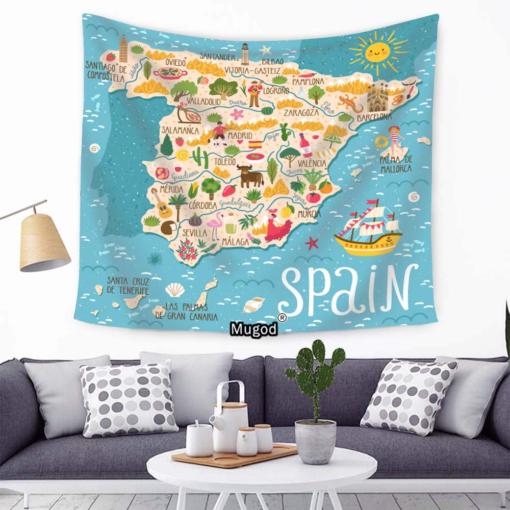 Amazon.com: Mugod Spanish Map Tapestry Sailboat Flamingo ...