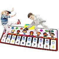 PROACC Piano playmat med LED-ljusläge stor storlek (39 x 15,7 tum) barn pianotangentbord musik playmat leksak, rolig…