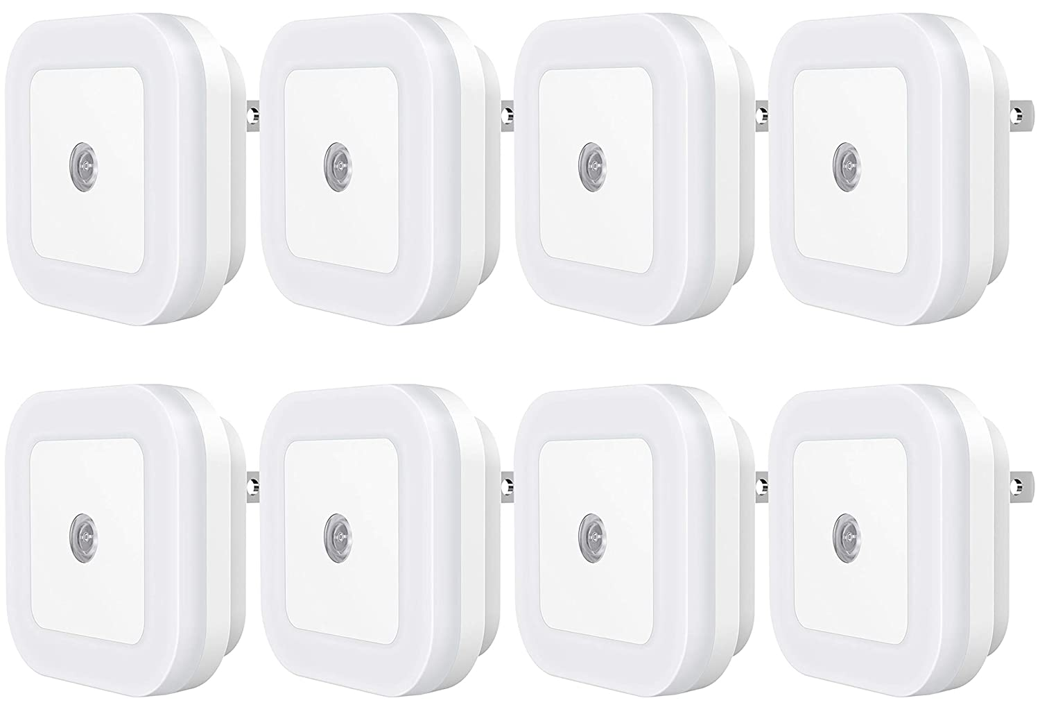 Sycees Plug-in LED Night Light with Dusk-to-Dawn Sensor for Bedroom, Bathroom, Kitchen, Hallway, Stairs, Daylight White, 8-Pack