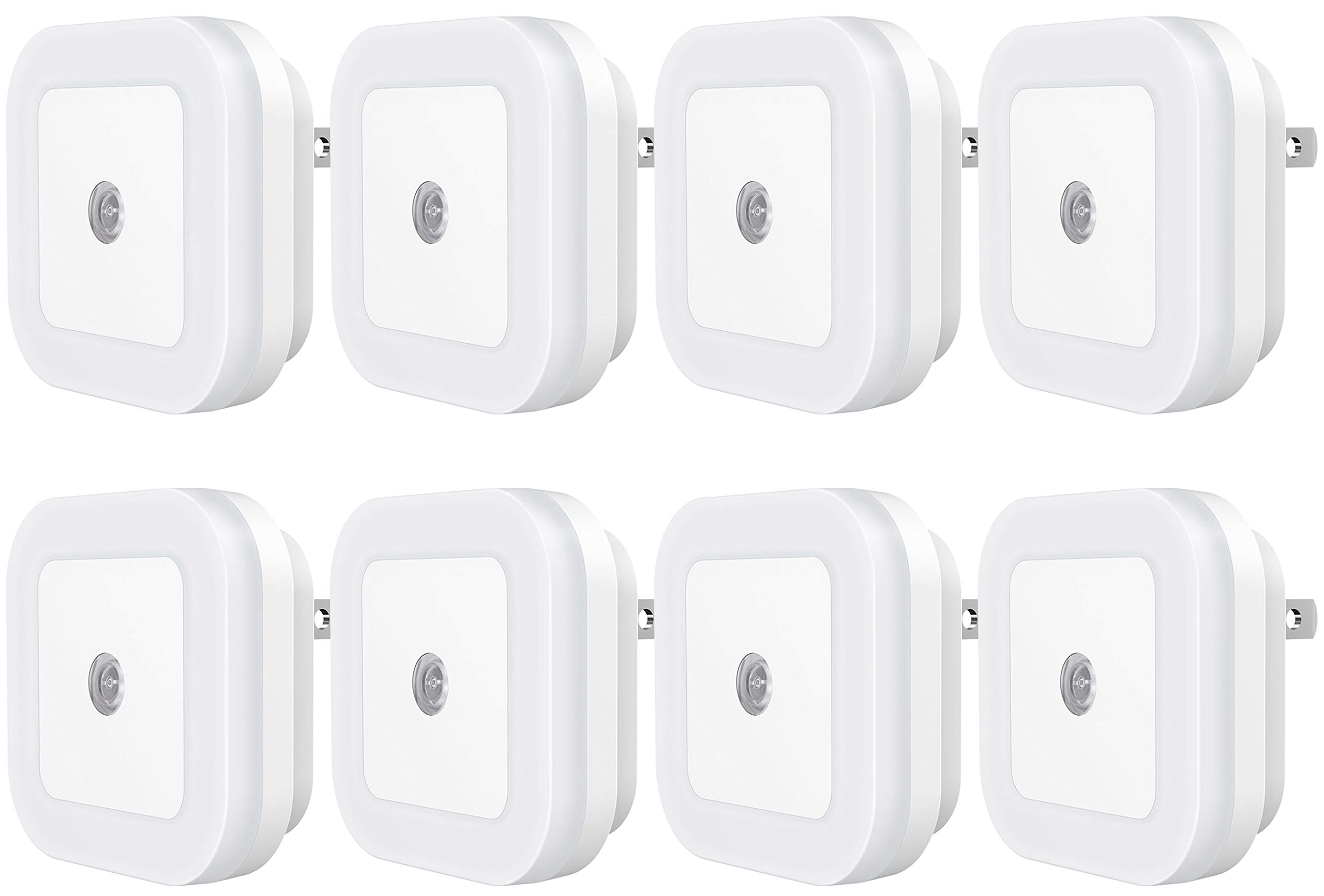 Sycees Plug-in LED Night Light Lamp with Dusk-to-Dawn Sensor for Bedroom, Bathroom, Kitchen, Hallway, Stairs, Daylight White, 8-Pack