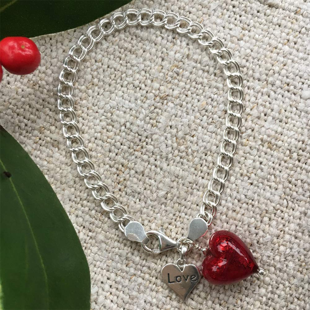 charm and 925 Sterling Silver Love heart charm. red Murano glass small heart 13mm Diana Ingram silver chain bracelet with 925 Sterling Silver double-curb chain