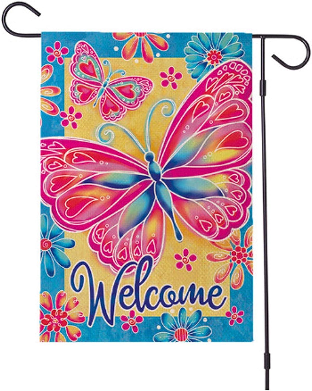 Anbys Spring Summer Garden Flag 12×18 Inch Double Sided Vertical Burlap Welcome Garden Flag for Outside Yard Farmhouse Decor (Butterfly)