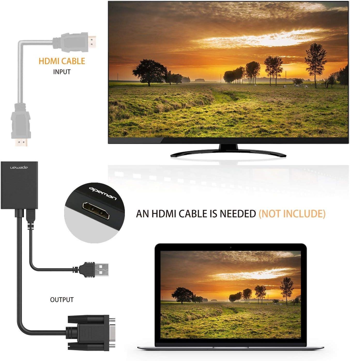 APEMAN Conversor de VGA a HDMI (1080P), Adaptador con Cable de Audio de 3,5 mm y de Corriente USB, Aplicado a HDTV, Monitor,PC, Ordenador, Proyector, DVD: Amazon.es: Electrónica