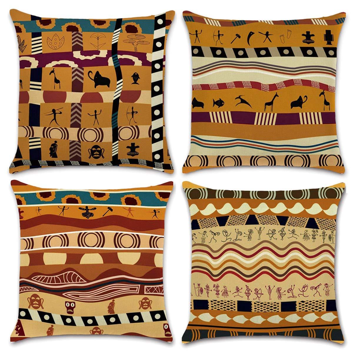 NYKKOLA Soild Linen Ancient Egypt Throw Pillow Covers Set, Decorative Pillowcase Cushion Cover for Sofa Bedroom Car 18 x 18 Inch 45 x 45 cm