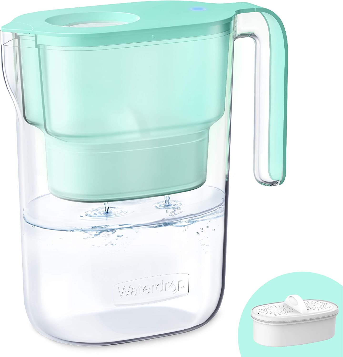 Waterdrop 5-Cup Water Filter Pitcher with 1 Filter, Long-Lasting (200 gallons), 5X Times Lifetime Filtration Jug, Reduces Lead, Fluoride, Chlorine and More, BPA Free, Green, Model: WD-PT-05G