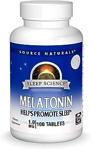 Source Naturals Sleep Science Melatonin 1 mg Helps Promote Sleep - 100 Tablets
