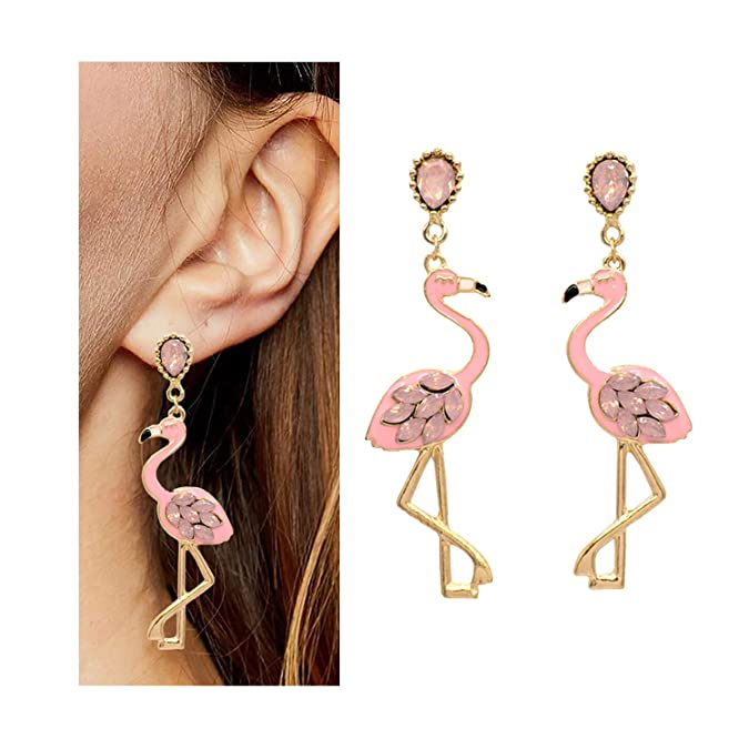 Vintage Style Jewelry, Retro Jewelry YANCHUN Pink Flamingo Earrings Crystal Bead Flamingo Drop Earring Tassel Dangle Earrings for Women $9.99 AT vintagedancer.com
