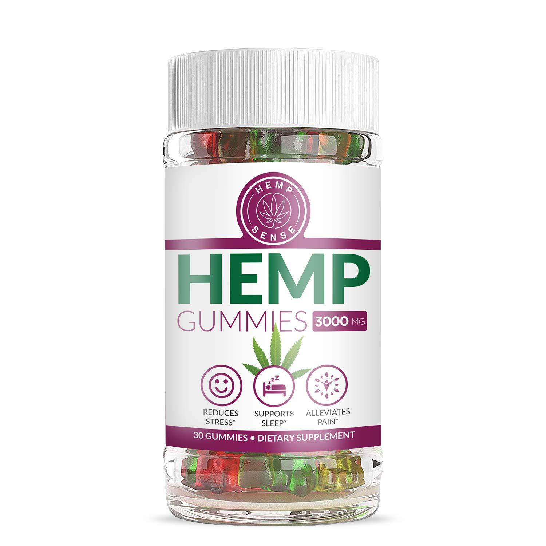 Organic Full Spectrum Hemp Gummies - Stress Relief, Inflammation, Pain, Sleep, Anxiety, Depression, Nausea - Vitamin E, Vitamin B, Omega 3,6,9 and More