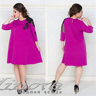 9676690fba Aworth New Ukraine Loose Dress for Women Lace Party Dress Plus Size ...