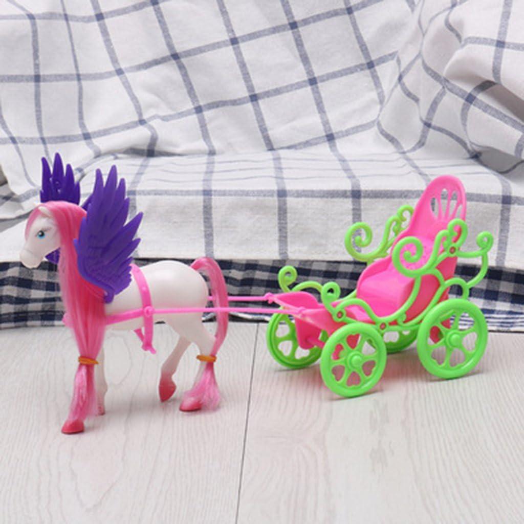 Valcano Mini Dream Fly Carruaje de Caballos para Barbie Kelly Accesorio para muñecas niña Kid Juguete