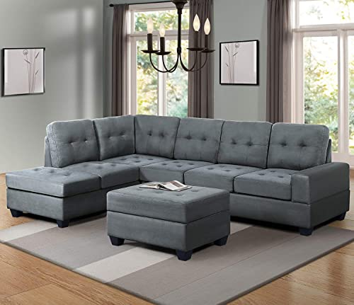 Civil Furniture Sectional Sofa Sets with Chaise Lounge and Ottoman Storage 3-seat Sofa Couch for Living Room Dark Gray