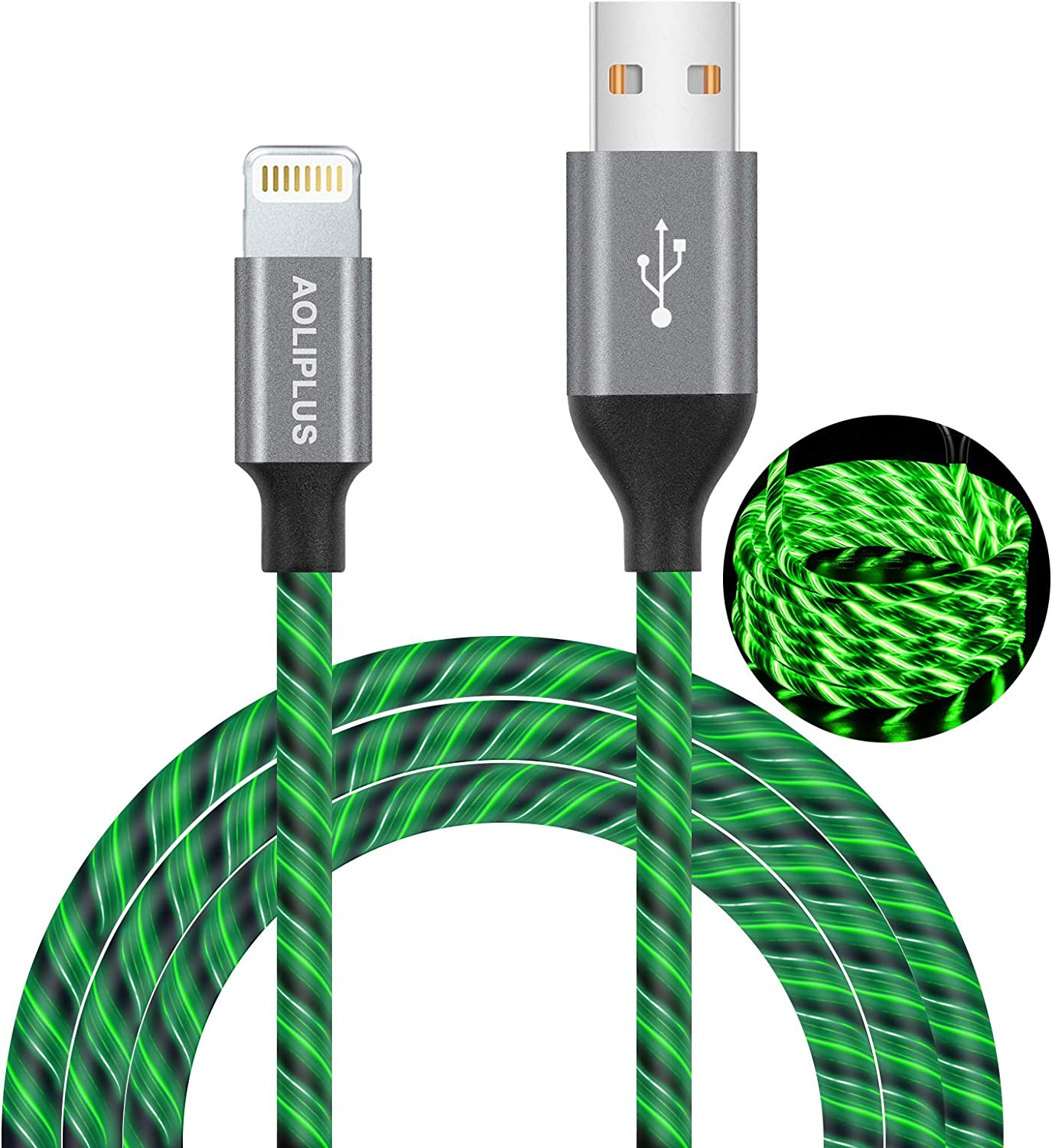 iPhone Charger Cable,[MFi Certified] Aoliplus 6ft LED Flowing Lightning Cable Fast Charger Data Sync Transfer Cord Compatible with iPhone SE 11 PRO MAX XS XR X 8 7 Plus 6S 6 iPad (Green)