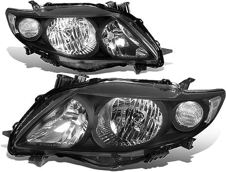 Toyota 09-10 Corolla Black DRL Dual Halo LED Projector Headlights Lamp Sedan
