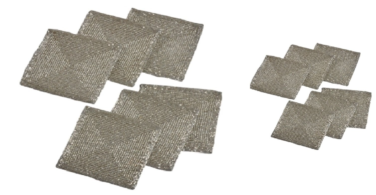 Silver Finish Glass Beads Braided Square Tabletop Decor Placemats and Coasters Set of 12