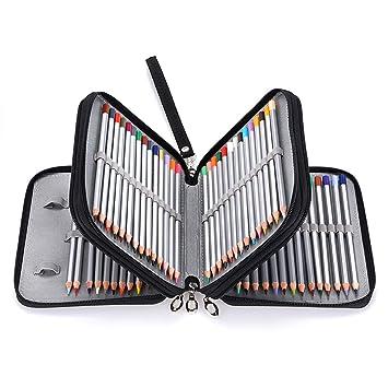 BTSKY Estuche Escolar para Escribanía Lápices con Forma de Cuadro 4 Capas Capacidad de 72 Ranuras Con Asa Extraíble Material de Lona Organizador para ...