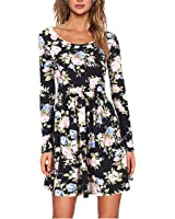 CoCo Fashion Women's Casual Floral Print Pleated Long Sleeve Knee Length Loose Dress