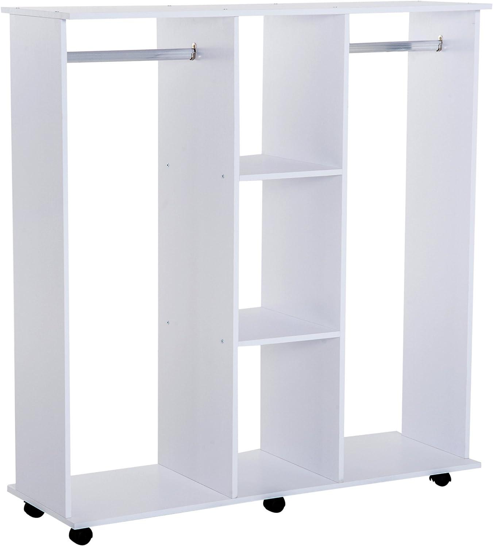 HOMCOM Portable Open Wardrobe on Wheels w// Rods/&Shelves,Clothes Organizer Rack