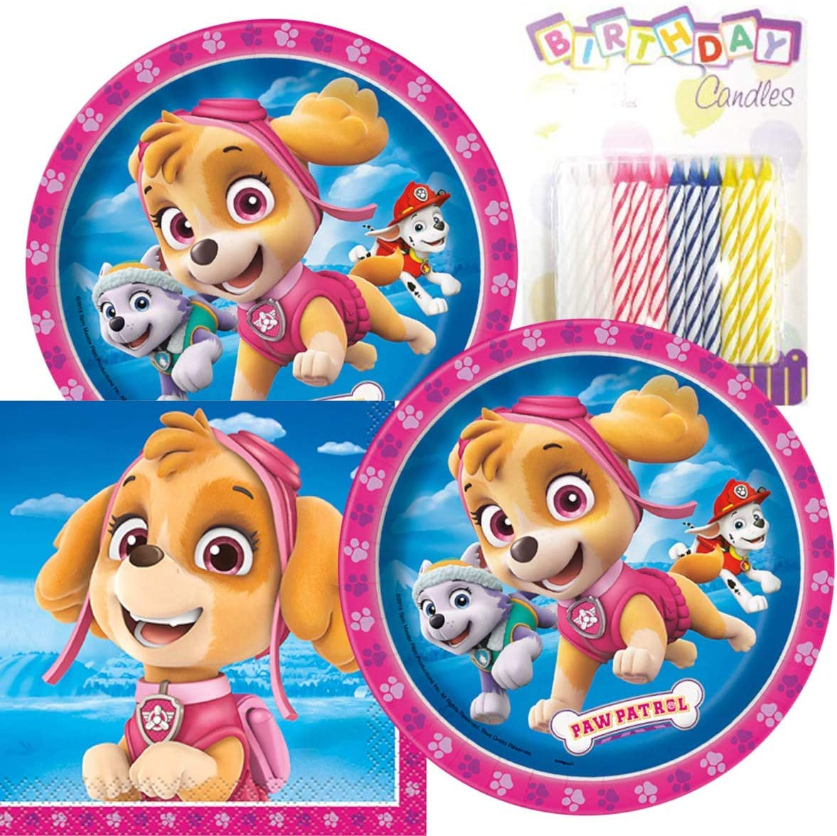 """Paw Patrol Girl Birthday Party Pack – Includes 7"""" Paper Plates & Beverage Napkins Plus 24 Birthday Candles – Serves 16"""