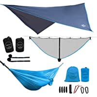 LAZZO Camping Hammock | Bundle Includes Net, Tarp, Tree Straps, Backpack | Weighs 4 Pounds, Perfect for Hammock Camping,Backpacking,Hiking | Lightweight Nylon Single & Double Hammock
