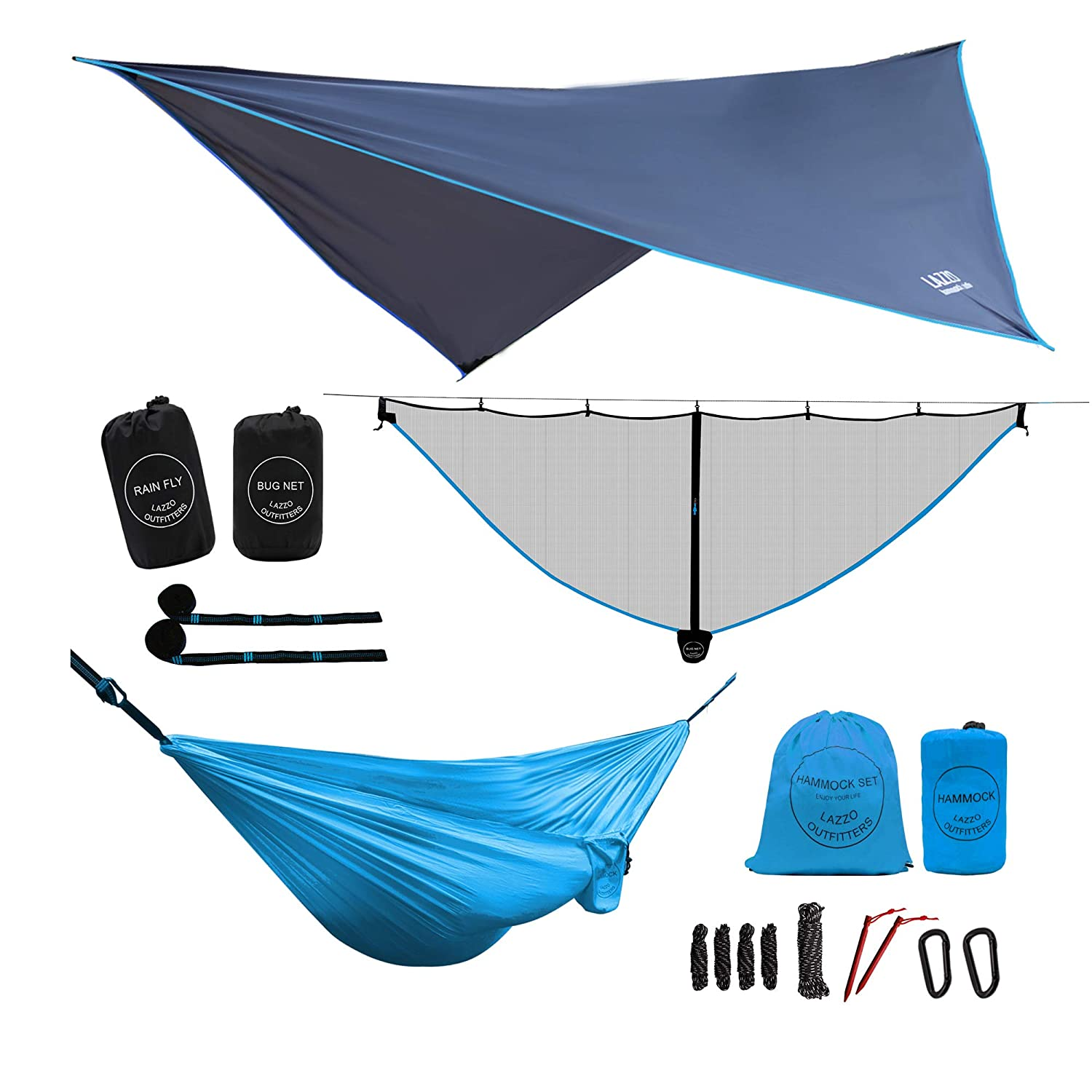 LAZZO Camping Hammock Bundle Includes Mosquito Net, Rain Fly, Tree Straps, Backpack Weighs 4 Pounds, Perfect for Hammock Camping,Backpacking Hiking Lightweight Nylon Single Double Hammock